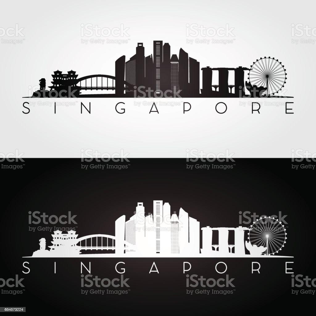 Singapore skyline and landmarks silhouette, black and white design, vector illustration. vector art illustration