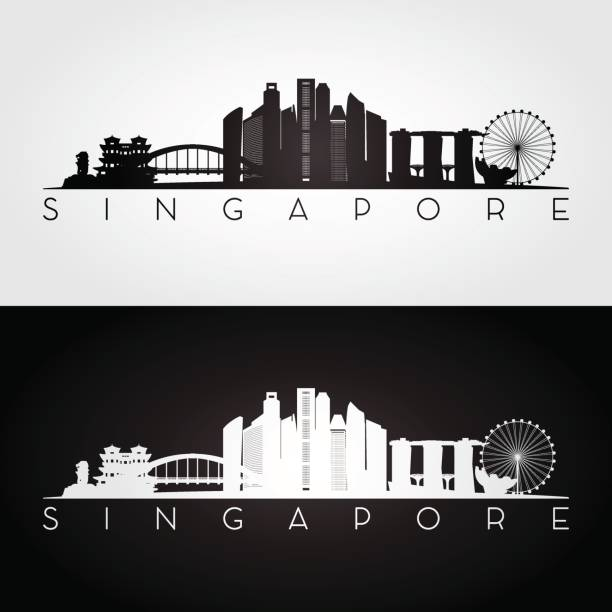 stockillustraties, clipart, cartoons en iconen met singapore skyline en bezienswaardigheden silhouet, zwart-wit design, vector illustratie. - singapore