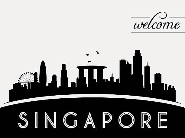 stockillustraties, clipart, cartoons en iconen met singapore skyline silhouette black and white design - singapore
