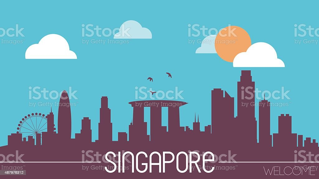 Singapore skyline silhouette vector art illustration