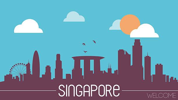 stockillustraties, clipart, cartoons en iconen met singapore skyline silhouette - singapore