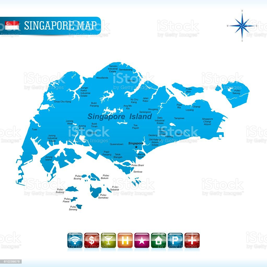 Singapore Vector Map Stock Vector Art & More Images of Blue ...