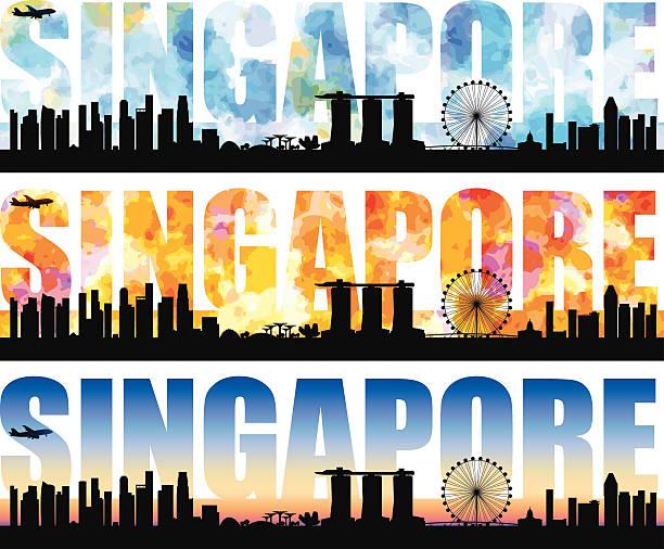 stockillustraties, clipart, cartoons en iconen met singapore word - singapore