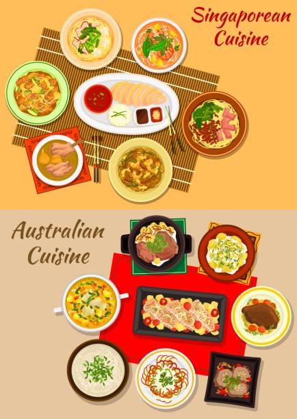 stockillustraties, clipart, cartoons en iconen met singaporese en australische keuken gerechten pictogram - singapore