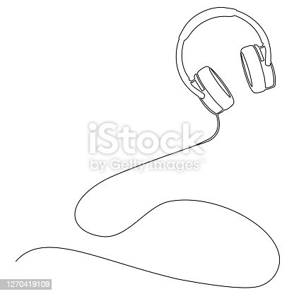 singe line abstract vector illustration of stereo headphones isolated on white, music and podcast concept