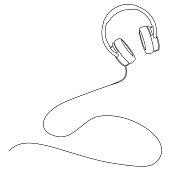 istock singe line abstract vector illustration of stereo headphones 1270419109