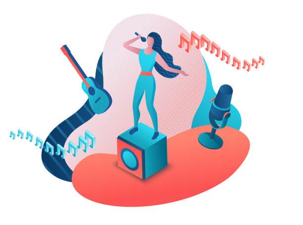 stockillustraties, clipart, cartoons en iconen met singer 3d isometrische vector kleurrijke illustratie, meisje zingen met microfoon, radio persoon - zingen