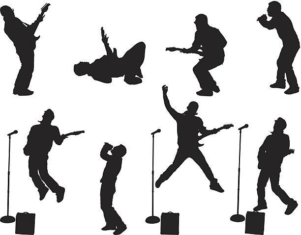 piosenkarka i guitarists efektywności - jumping stock illustrations