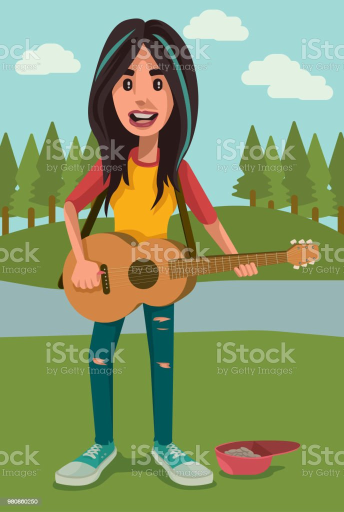 Singer at the Park vector art illustration
