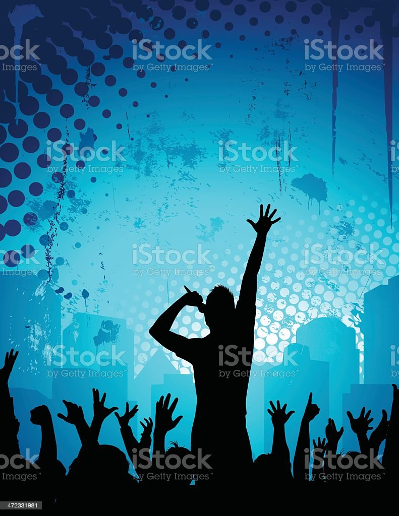 Singer Crowd vector art illustration