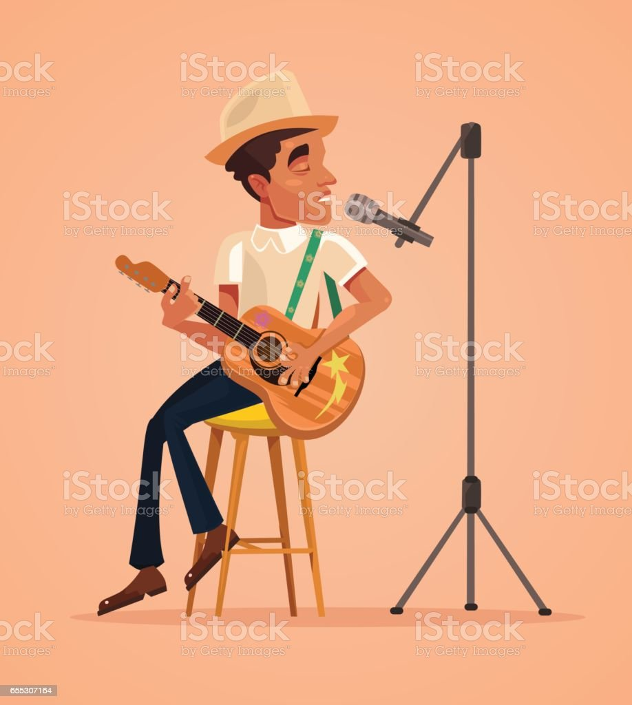 Singer man character sing song and play guitar vector art illustration
