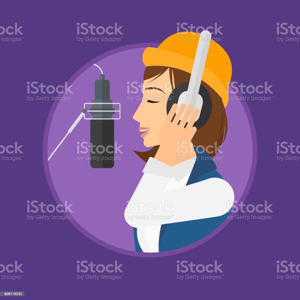 Singer recording song vector art illustration