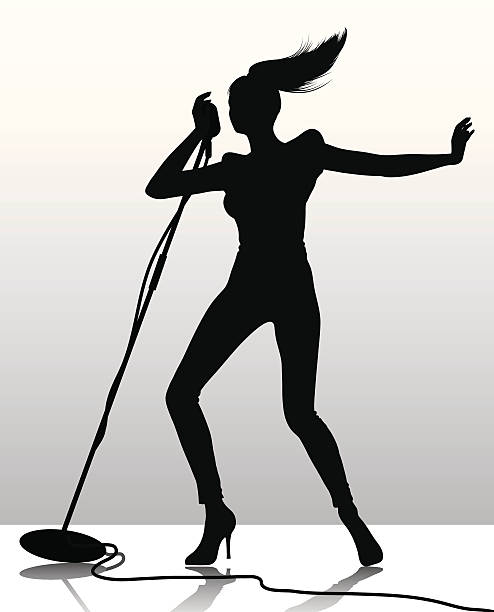 singer silhouette vector art illustration