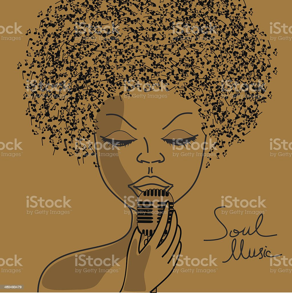 Singer silhouette with musical notes hair vector art illustration