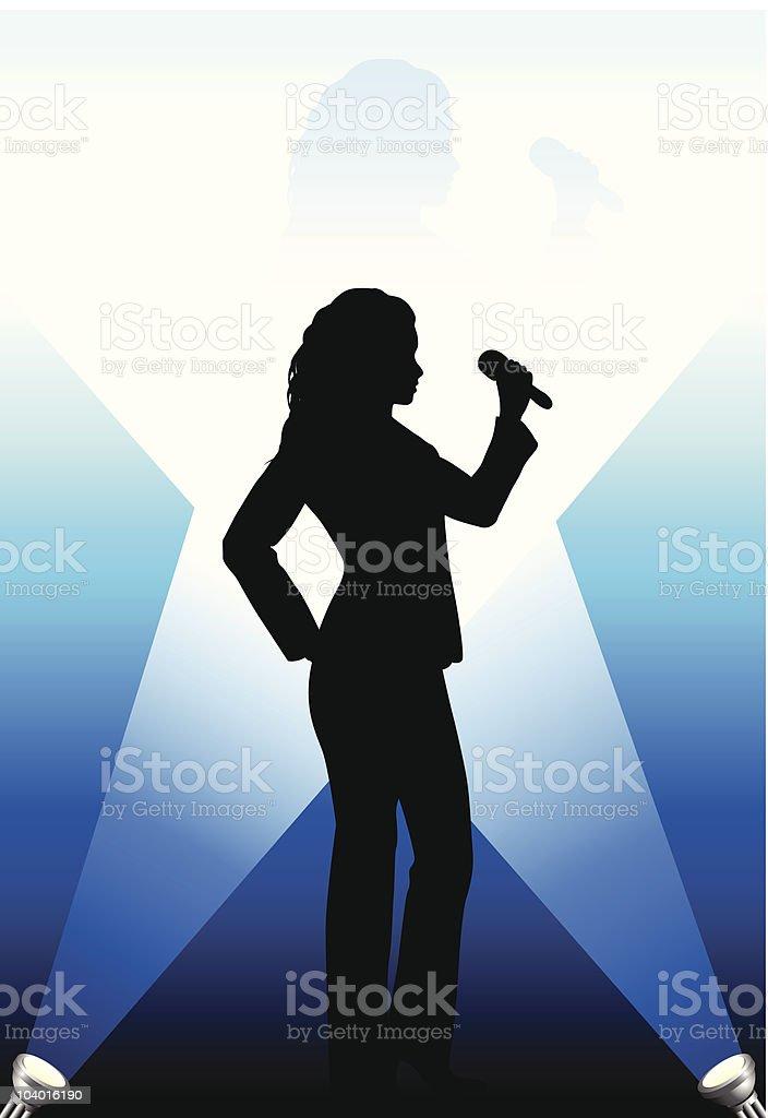 Singer under the Bright Lights royalty-free stock vector art