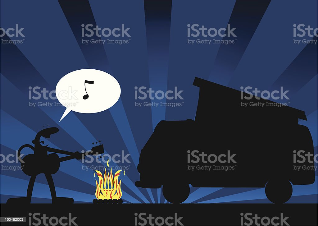 Singer with camping car vector art illustration