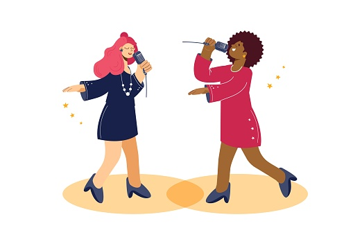 Singer Woman. Two international jazz singers, white background, vector