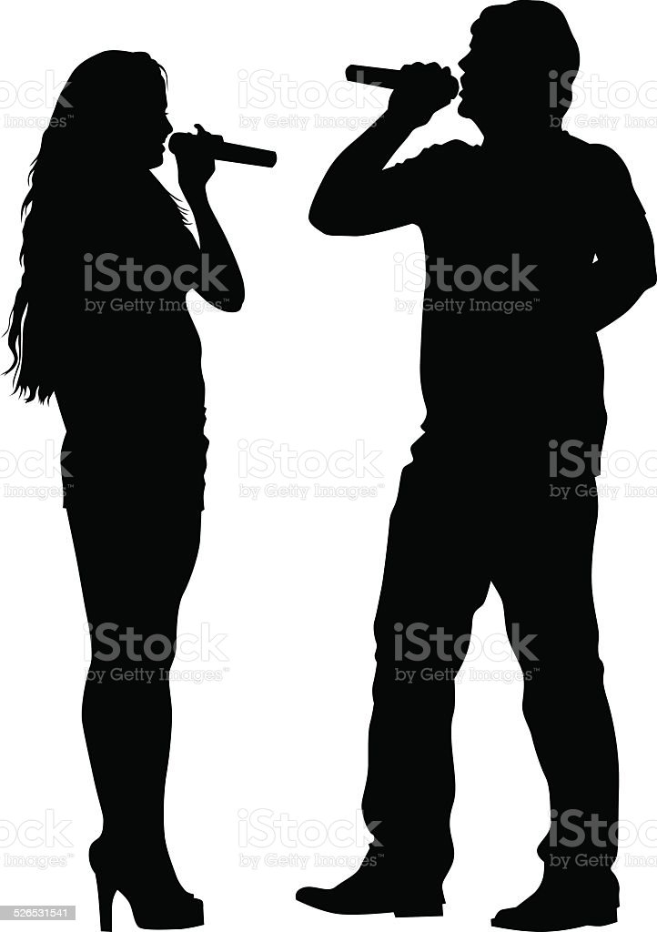 Singer women and man vector art illustration