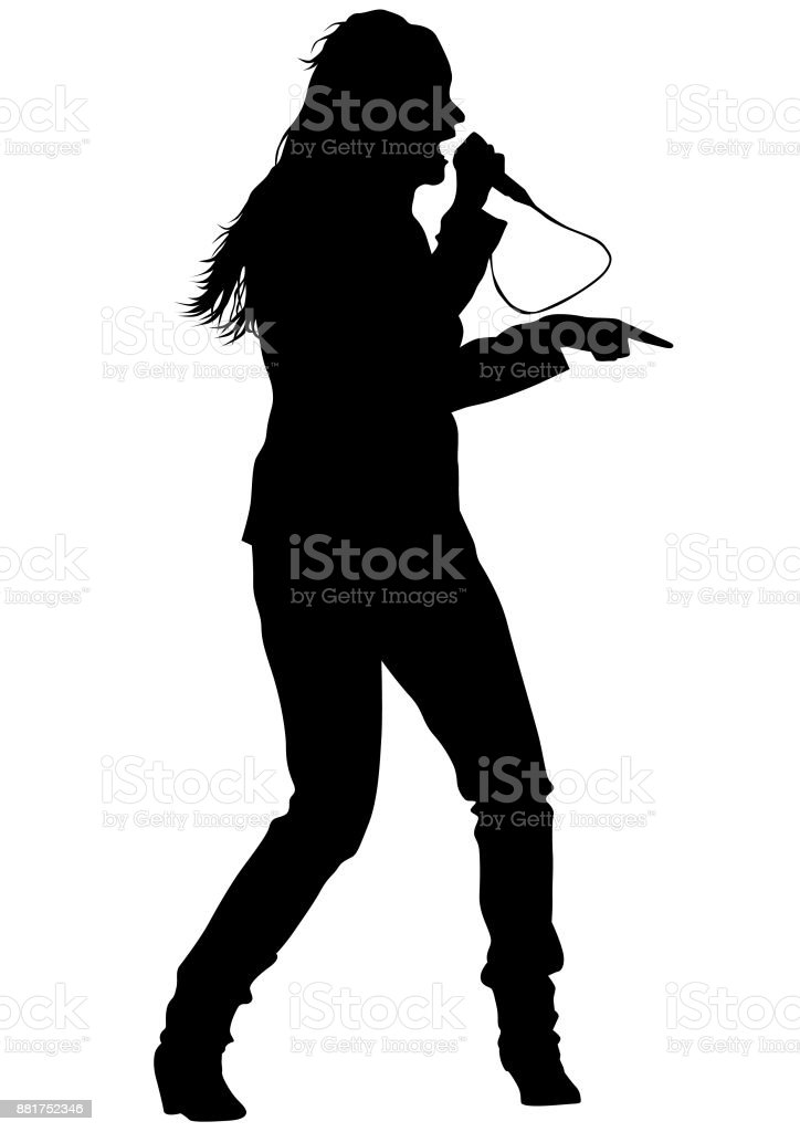 Singer women vector art illustration