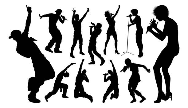 Singers Pop Country Rock Hiphop Star Silhouettes A set of high quality silhouette singer pop, country music, rock stars and hiphop rapper artist vocalists singer stock illustrations