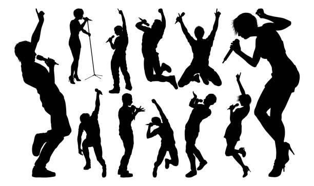 stockillustraties, clipart, cartoons en iconen met zangers pop country rock hiphop ster silhouetten - zingen
