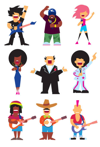 singers silhouette set vector - rocker stock-grafiken, -clipart, -cartoons und -symbole