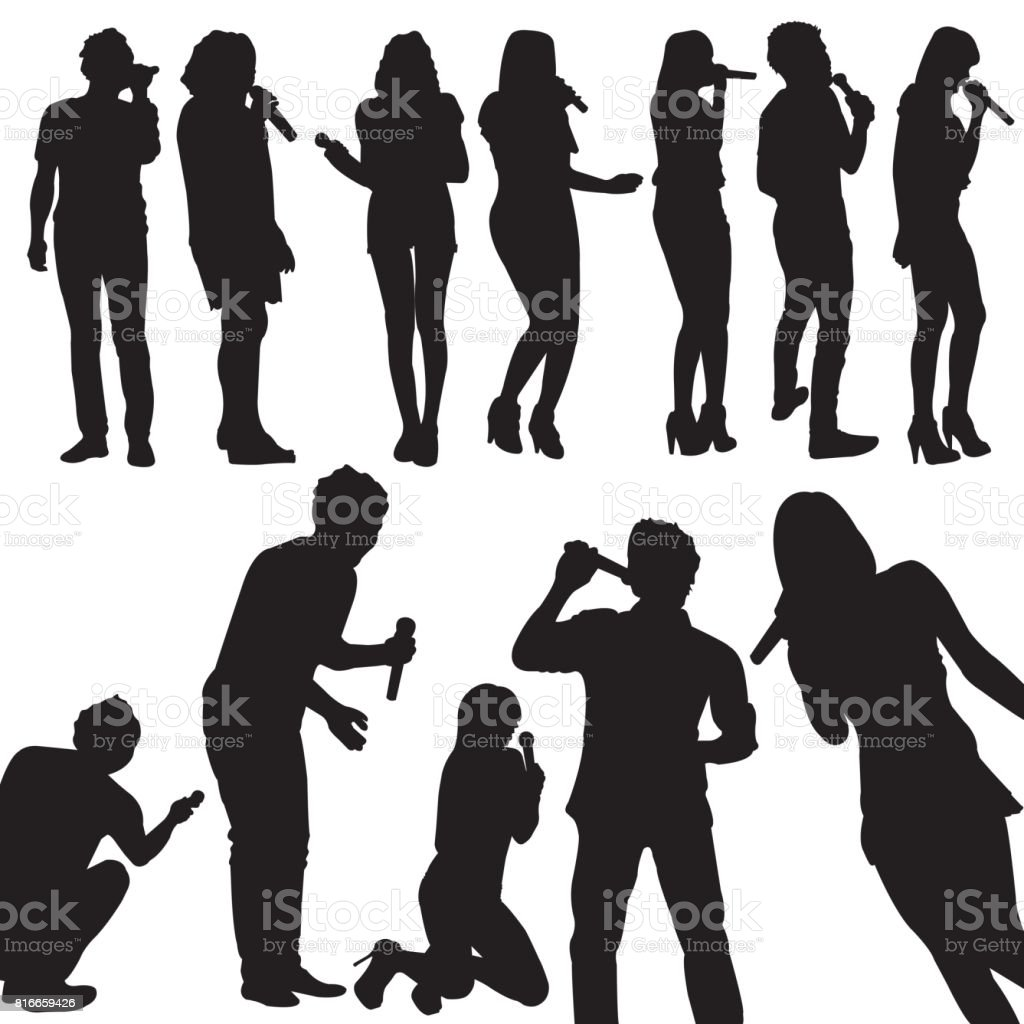 Singers Silhouette Set vector vector art illustration