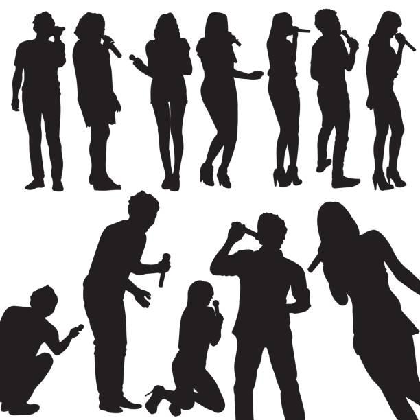 stockillustraties, clipart, cartoons en iconen met vector zangers silhouet instellen - zanger