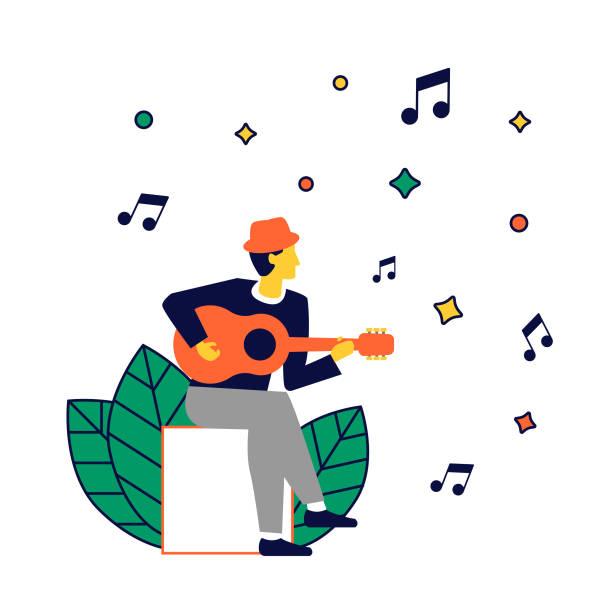 Singer-songwriter playing guitar Músico tocando y cantando. lyric stock illustrations