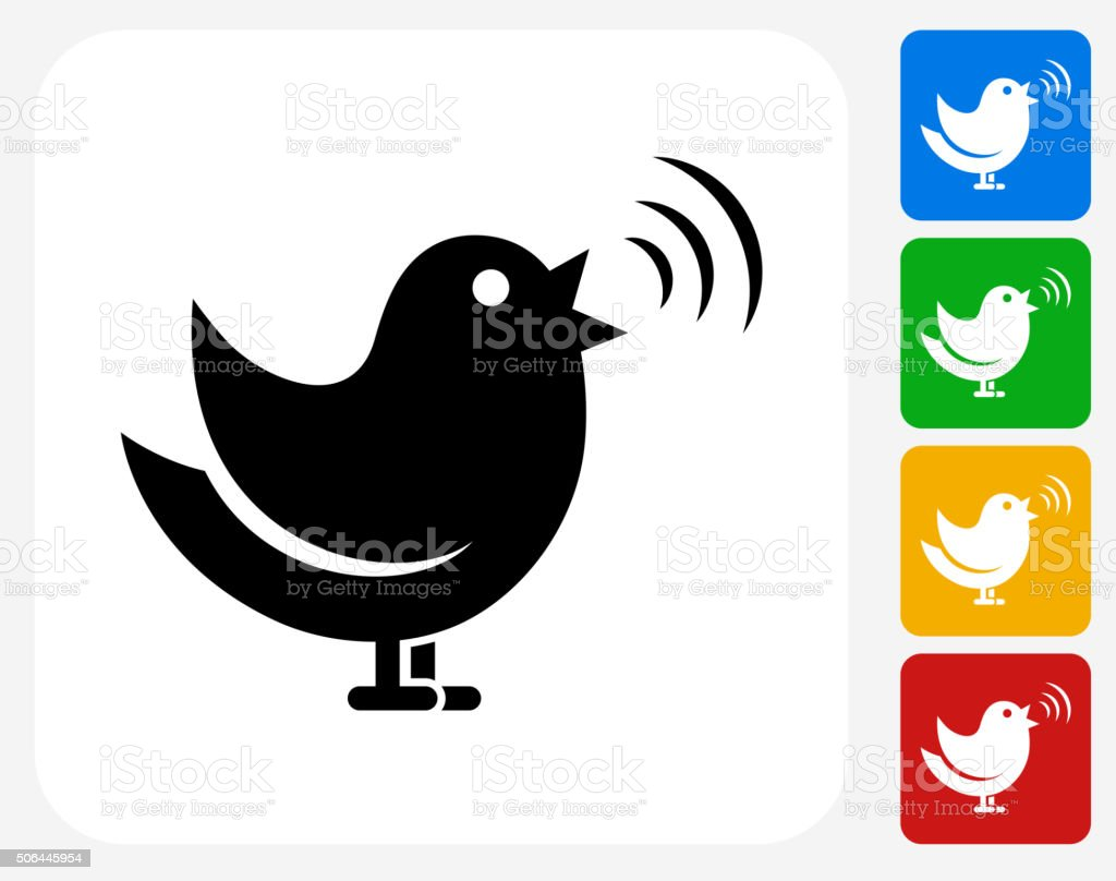 Singing Bird Icon Flat Graphic Design vector art illustration
