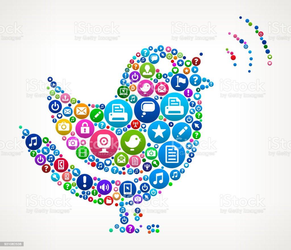 Singing Bird Internet Communication Technology Icon Pattern vector art illustration