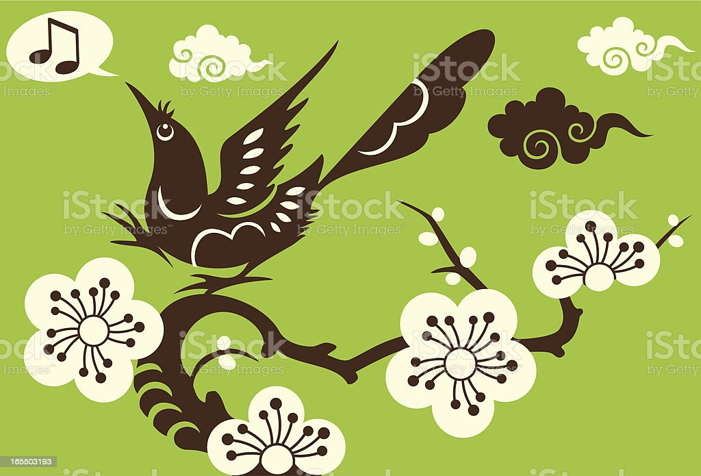 Singing Bird, Plum Blossom & Clouds royalty-free singing bird plum blossom clouds stock vector art & more images of abstract