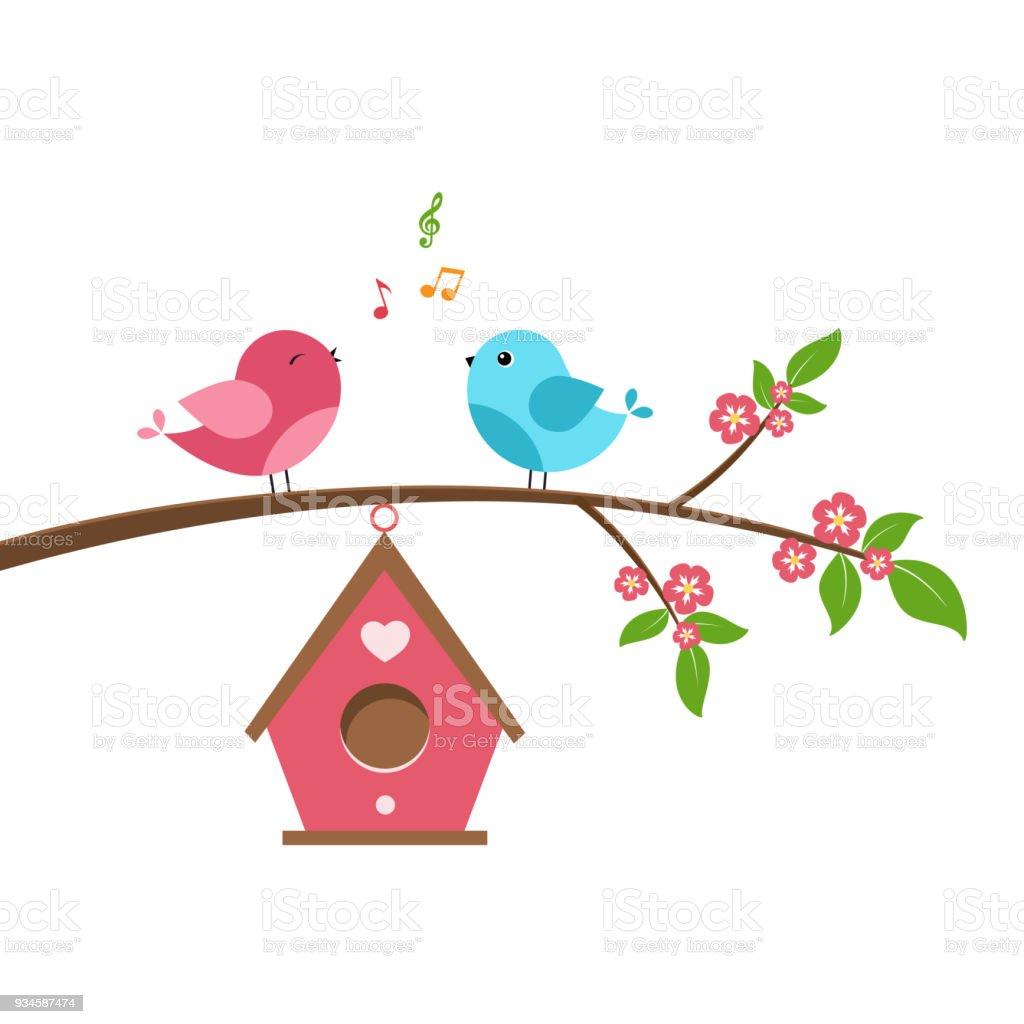 Singing bird vector art illustration