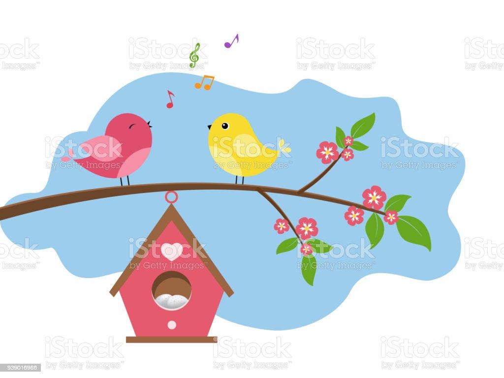 Singing birds. vector art illustration