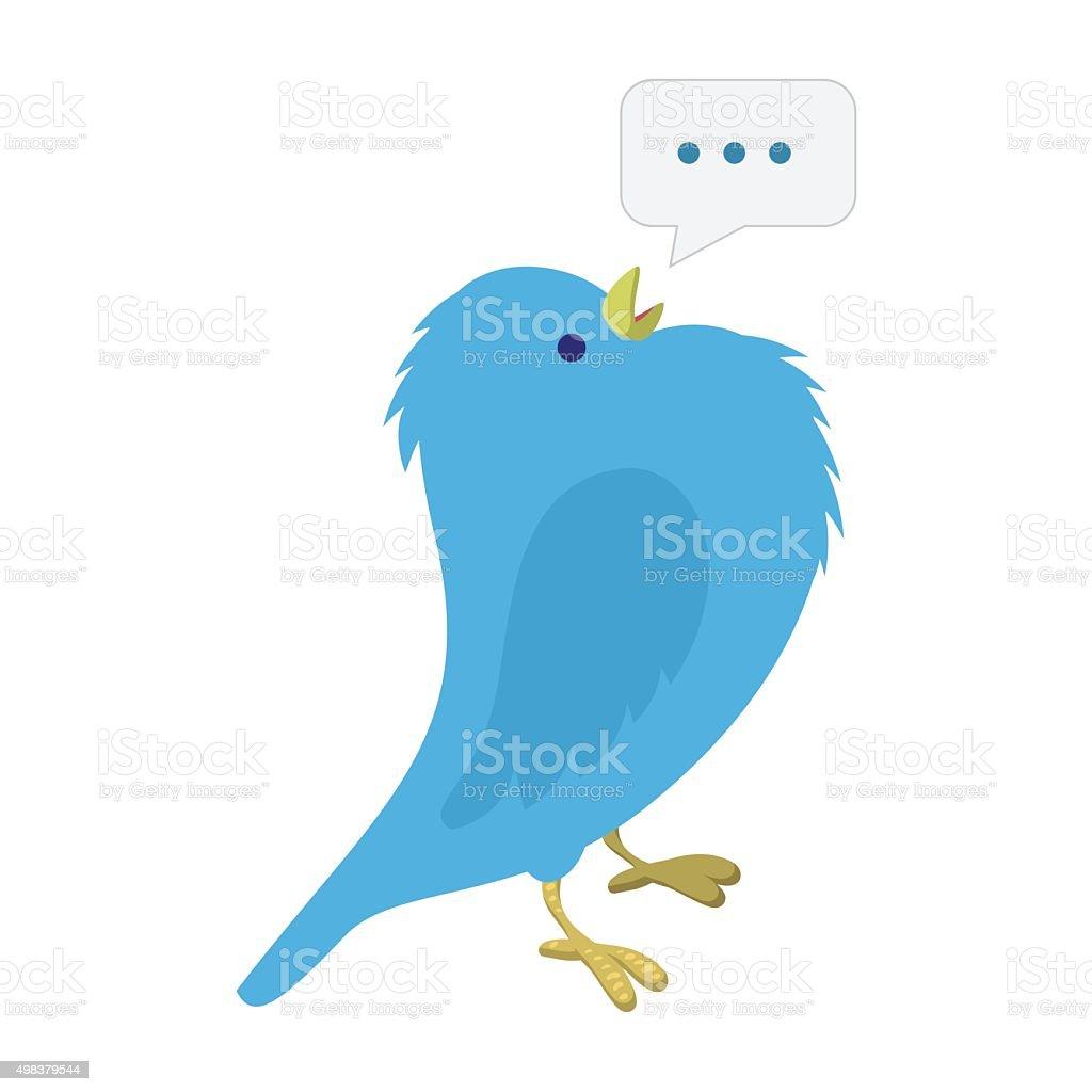 Singing blue bird illustration vector art illustration
