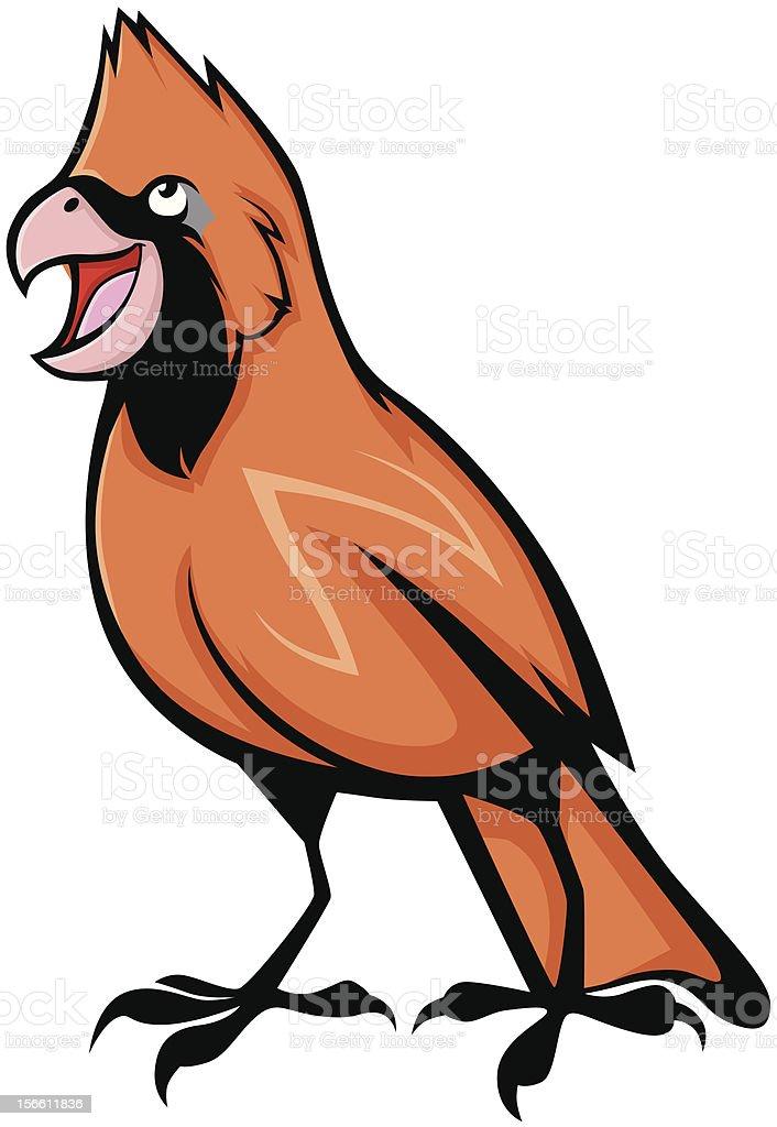 Singing Cardinal Bird Illustration royalty-free stock vector art