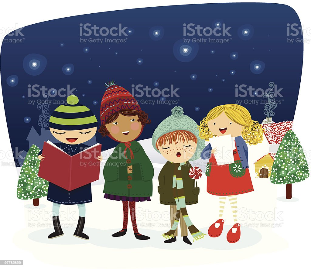singing carols in town vector art illustration