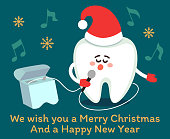 Singing cartoon tooth in Santa hat with dental floss. Merry Christmas! Greeting card from dentistry, poster with wishes.