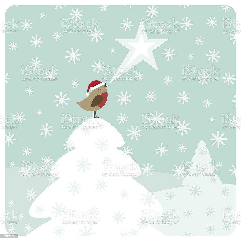 Weihnachten Robin Vogel Singen Stock Vektor Art und mehr Bilder von ...