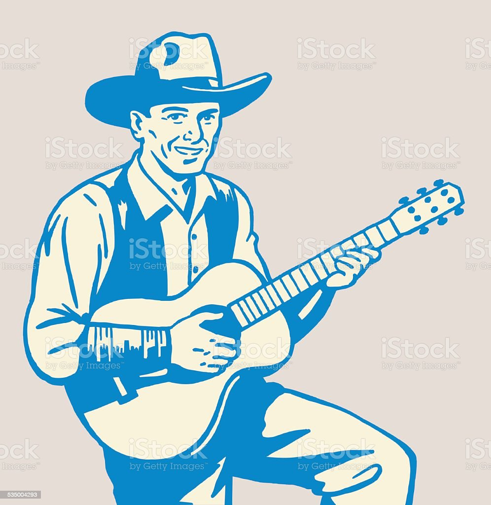 Singing Cowboy vector art illustration