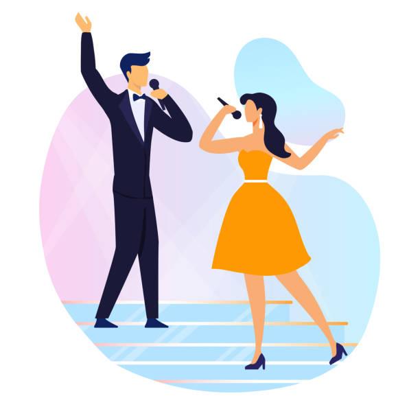 stockillustraties, clipart, cartoons en iconen met zingen duet performance platte vector illustratie - zanger
