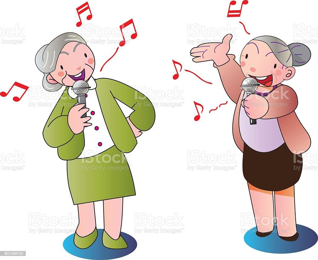 Singing grandma singing grandma – cliparts vectoriels et plus d'images de arts culture et spectacles libre de droits