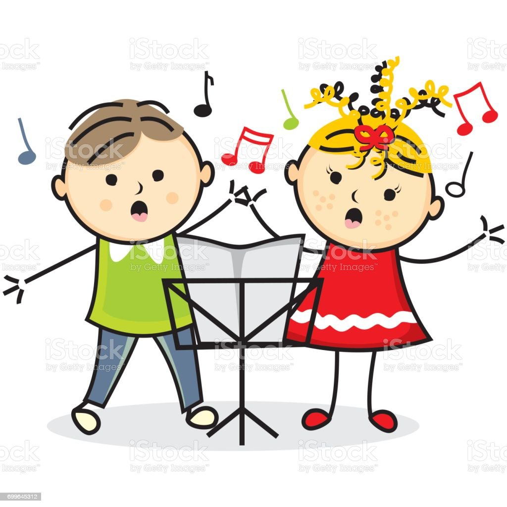 Singing kids and music stand vector art illustration