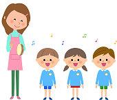 Singing, kindergarten child, nursery school child