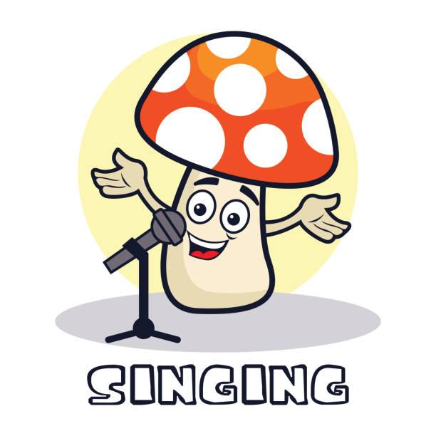 illustrazioni stock, clip art, cartoni animati e icone di tendenza di singing mushroom cartoon character. vector illustration - deadly sings