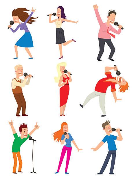 singing people vector set. - ステージのイラスト点のイラスト素材/クリップアート素材/マンガ素材/アイコン素材