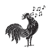 Vector illustration with singing rooster. Black Bird sings a song. Hand drawn grunge style.