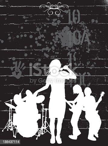 istock Singing silhouettes white on black 135437114