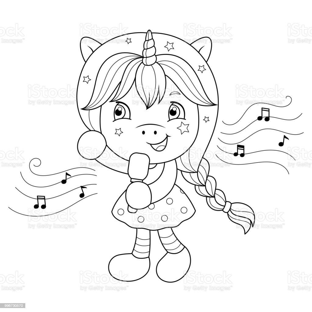 şarkı Tek Boynuzlu At Kız Mikrofon Ile Kızlar Için Boyama Sayfası