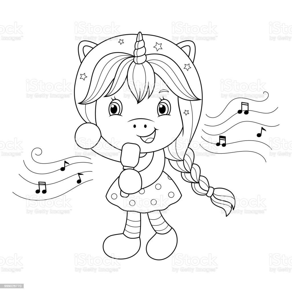 Ilustración De Chica De Unicornio De Cantar Con Micrófono Página